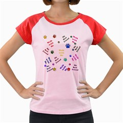 Animals Pets Dogs Paws Colorful Women s Cap Sleeve T Shirt