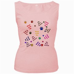 Animals Pets Dogs Paws Colorful Women s Pink Tank Top