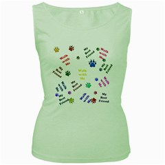 Animals Pets Dogs Paws Colorful Women s Green Tank Top
