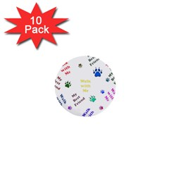 Animals Pets Dogs Paws Colorful 1  Mini Buttons (10 pack)