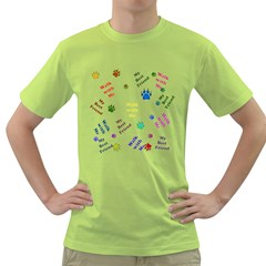 Animals Pets Dogs Paws Colorful Green T Shirt