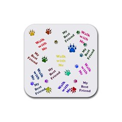 Animals Pets Dogs Paws Colorful Rubber Coaster (square)