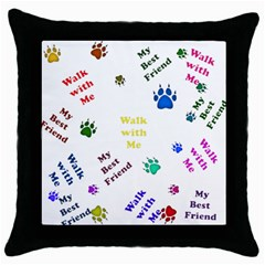 Animals Pets Dogs Paws Colorful Throw Pillow Case (black)