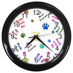 Animals Pets Dogs Paws Colorful Wall Clocks (black)