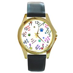 Animals Pets Dogs Paws Colorful Round Gold Metal Watch