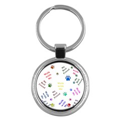 Animals Pets Dogs Paws Colorful Key Chains (round)