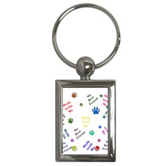 Animals Pets Dogs Paws Colorful Key Chains (rectangle)