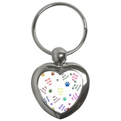 Animals Pets Dogs Paws Colorful Key Chains (heart)