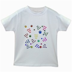 Animals Pets Dogs Paws Colorful Kids White T Shirts