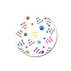 Animals Pets Dogs Paws Colorful Magnet 3  (round)