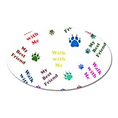Animals Pets Dogs Paws Colorful Oval Magnet
