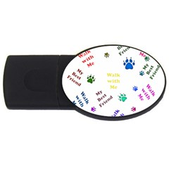 Animals Pets Dogs Paws Colorful Usb Flash Drive Oval (2 Gb)