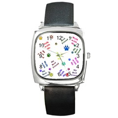 Animals Pets Dogs Paws Colorful Square Metal Watch