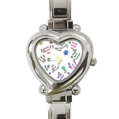 Animals Pets Dogs Paws Colorful Heart Italian Charm Watch
