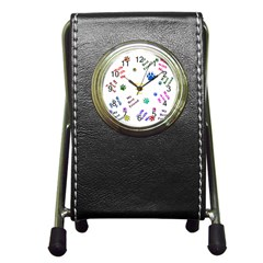 Animals Pets Dogs Paws Colorful Pen Holder Desk Clocks
