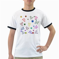 Animals Pets Dogs Paws Colorful Ringer T Shirts