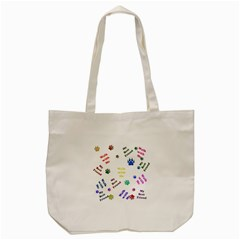 Animals Pets Dogs Paws Colorful Tote Bag (cream)
