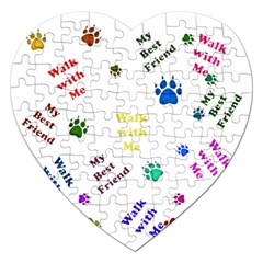 Animals Pets Dogs Paws Colorful Jigsaw Puzzle (heart)