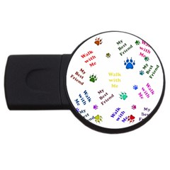 Animals Pets Dogs Paws Colorful Usb Flash Drive Round (4 Gb)