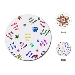 Animals Pets Dogs Paws Colorful Playing Cards (round)