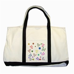 Animals Pets Dogs Paws Colorful Two Tone Tote Bag