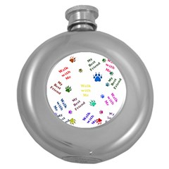 Animals Pets Dogs Paws Colorful Round Hip Flask (5 Oz)