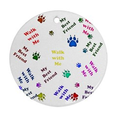 Animals Pets Dogs Paws Colorful Round Ornament (two Sides)