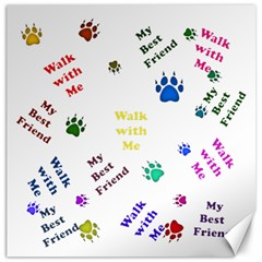 Animals Pets Dogs Paws Colorful Canvas 12  X 12