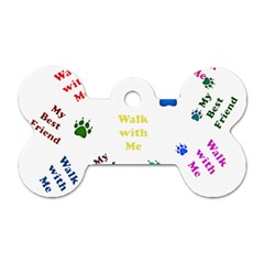 Animals Pets Dogs Paws Colorful Dog Tag Bone (two Sides)