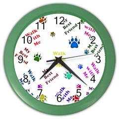 Animals Pets Dogs Paws Colorful Color Wall Clocks