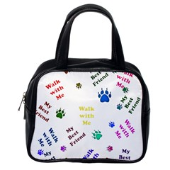 Animals Pets Dogs Paws Colorful Classic Handbags (one Side)