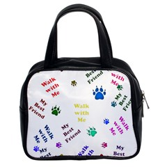 Animals Pets Dogs Paws Colorful Classic Handbags (2 Sides)