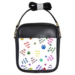 Animals Pets Dogs Paws Colorful Girls Sling Bags