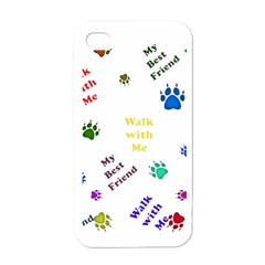 Animals Pets Dogs Paws Colorful Apple Iphone 4 Case (white)