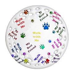 Animals Pets Dogs Paws Colorful Round Filigree Ornament (two Sides)