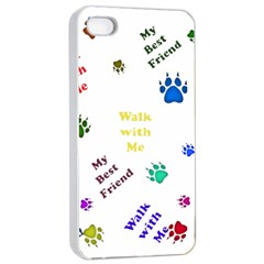 Animals Pets Dogs Paws Colorful Apple Iphone 4/4s Seamless Case (white)