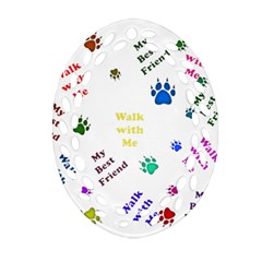 Animals Pets Dogs Paws Colorful Ornament (oval Filigree)