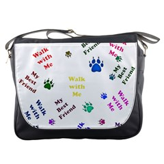 Animals Pets Dogs Paws Colorful Messenger Bags