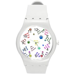 Animals Pets Dogs Paws Colorful Round Plastic Sport Watch (m)