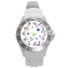 Animals Pets Dogs Paws Colorful Round Plastic Sport Watch (l)