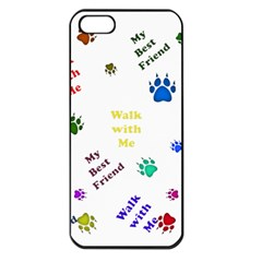 Animals Pets Dogs Paws Colorful Apple Iphone 5 Seamless Case (black)