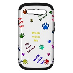 Animals Pets Dogs Paws Colorful Samsung Galaxy S Iii Hardshell Case (pc+silicone)
