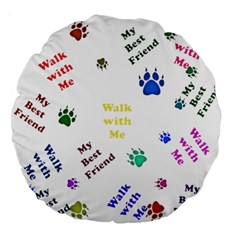 Animals Pets Dogs Paws Colorful Large 18  Premium Round Cushions