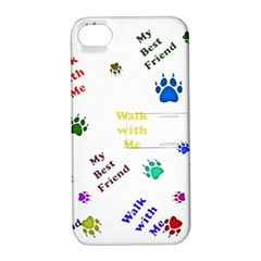 Animals Pets Dogs Paws Colorful Apple Iphone 4/4s Hardshell Case With Stand