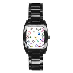 Animals Pets Dogs Paws Colorful Stainless Steel Barrel Watch