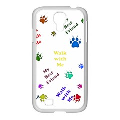 Animals Pets Dogs Paws Colorful Samsung Galaxy S4 I9500/ I9505 Case (white)