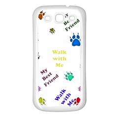 Animals Pets Dogs Paws Colorful Samsung Galaxy S3 Back Case (white)