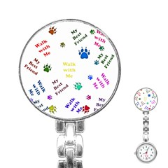Animals Pets Dogs Paws Colorful Stainless Steel Nurses Watch