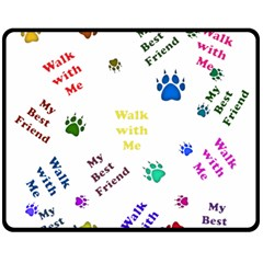 Animals Pets Dogs Paws Colorful Double Sided Fleece Blanket (medium)