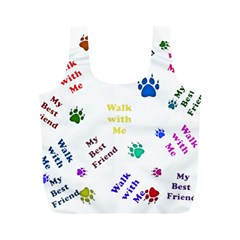 Animals Pets Dogs Paws Colorful Full Print Recycle Bags (m)
